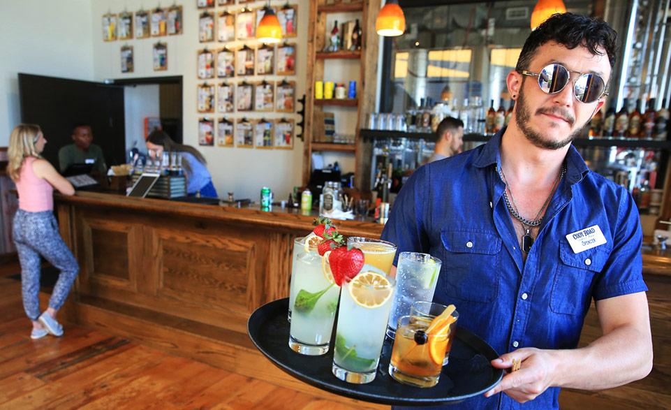 MRDC Server with custom cocktails on tray