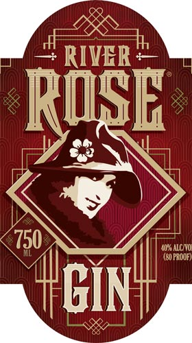 River Rose Gin label