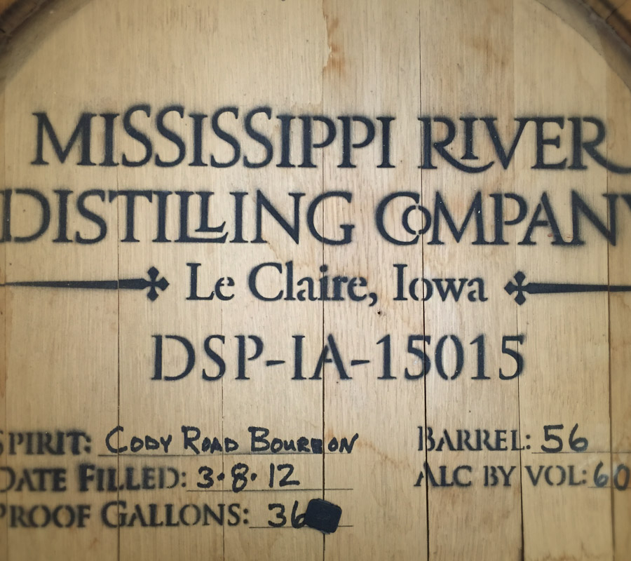 Mississippi River Distilling top of barrel
